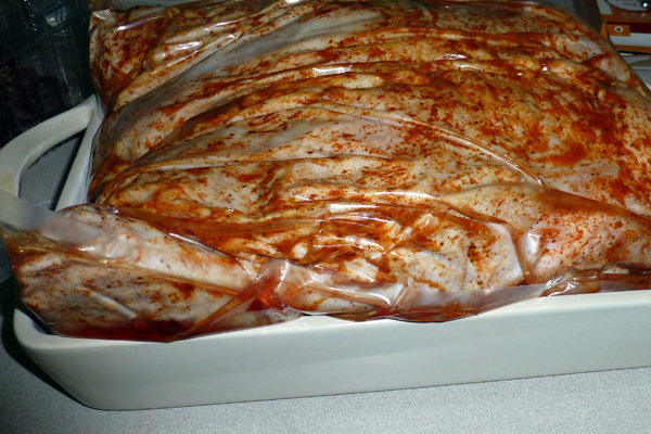 This is what the Turducken looks like after thawing. It's in a sealed bag.