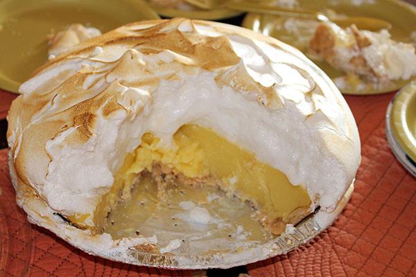 """Birthday"" pie — Lemon Meringue at Dot Coffee Shop"