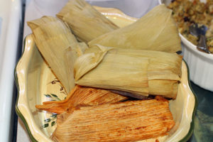 Two types of tamales -- chicken and corn. The corn tamales are sweet. The chicken tamales are my favorite.