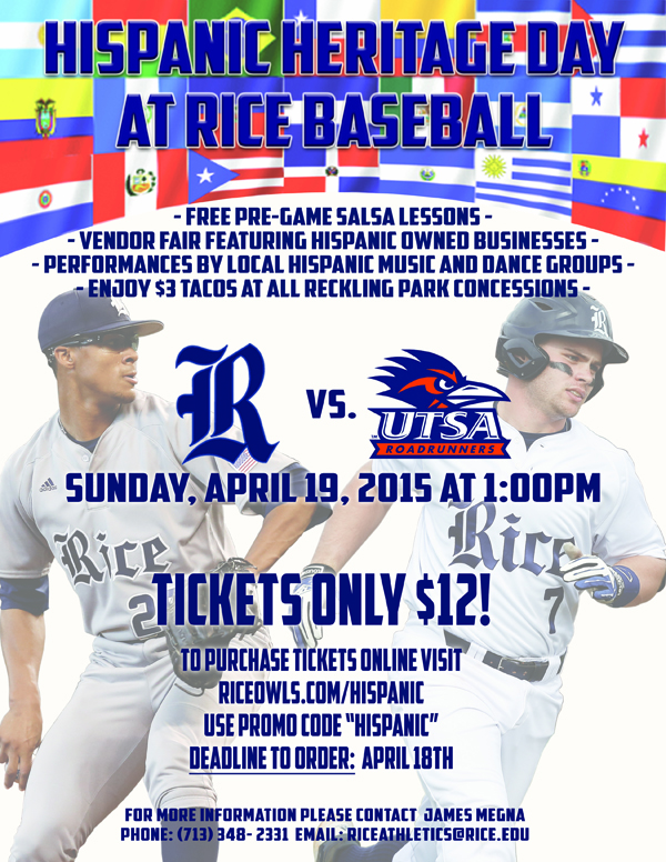Hispanic Heritage game at Rice Baseball on Sunday, April 19, 2015
