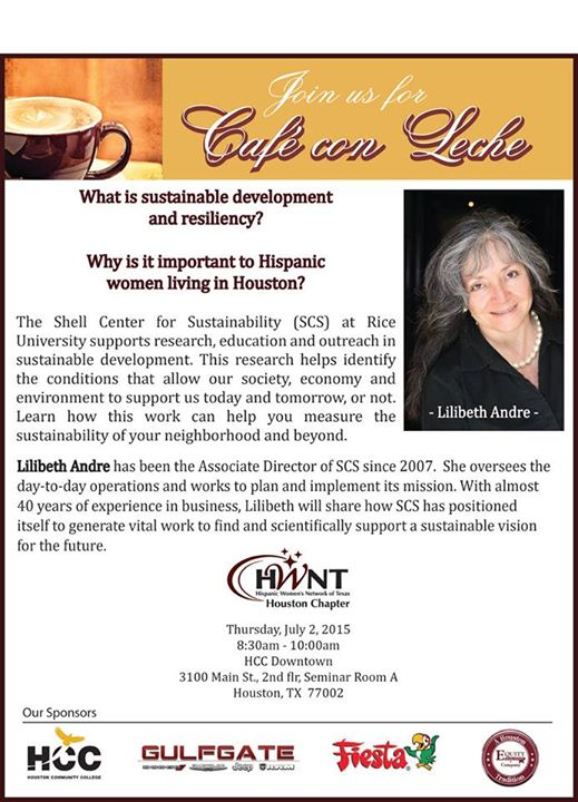 HWNT Cafe Con Leche on Thursday, July 2, 2015 (more info at www.hispanichouston.com)