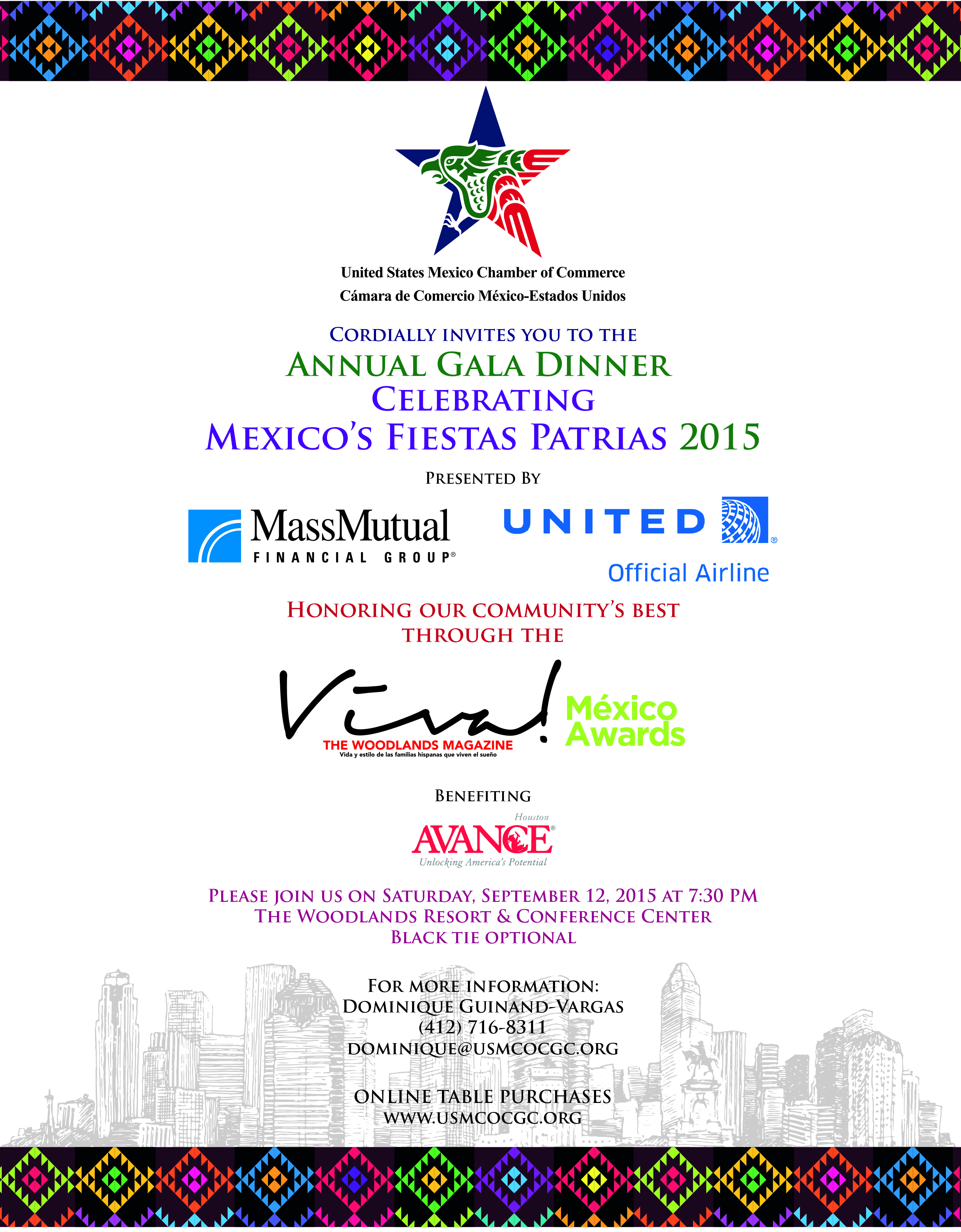 US Mexico Chamber of Commerce 2nd Annual Fiestas Patrias Gala on Saturday, September 12, 2015