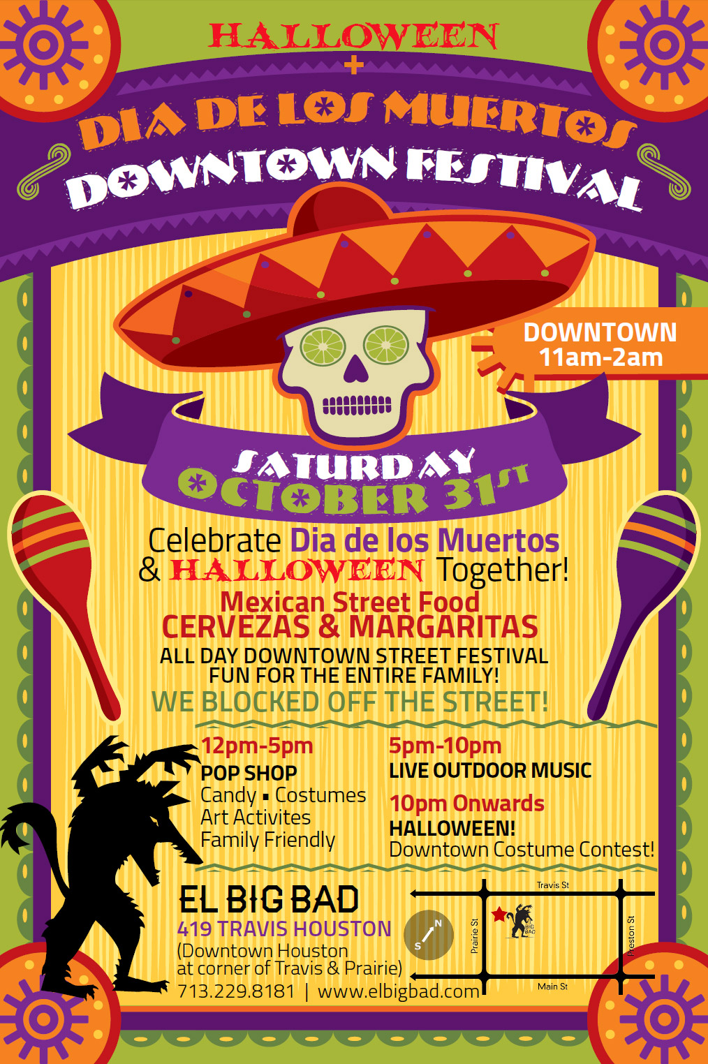 Halloween + Dia de los Muertos Downtown Festival on Saturday, October 31, 2015