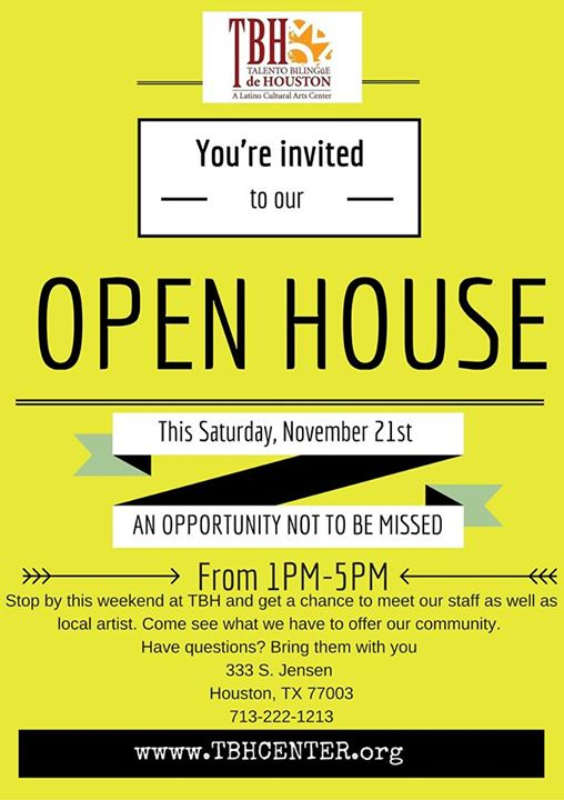 Talento Bilingue de Houston Open House on Saturday, November 21, 2015