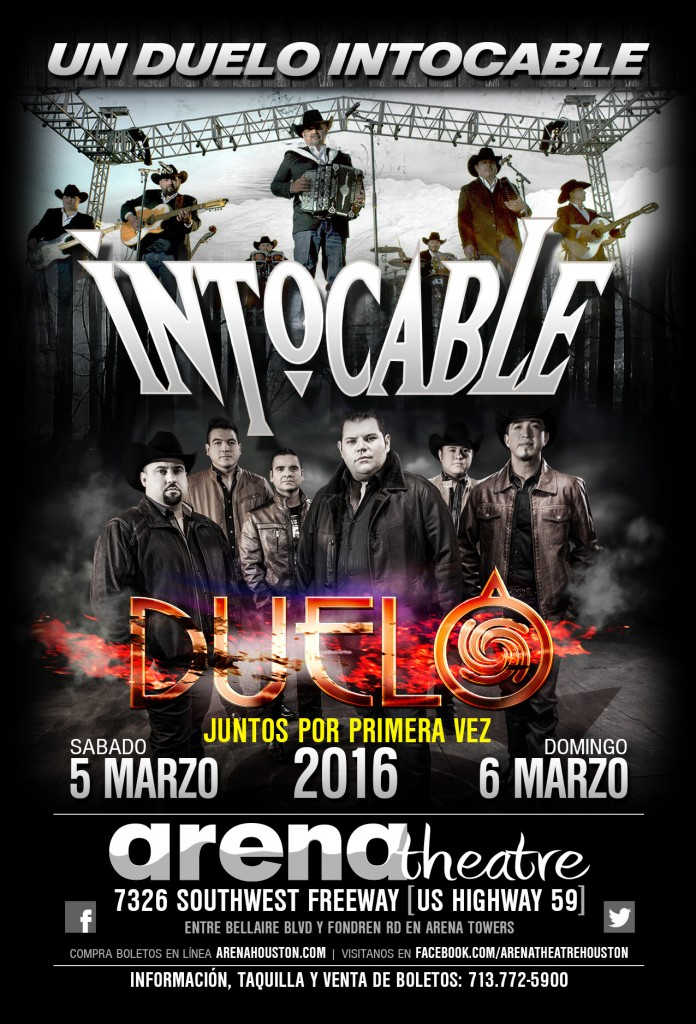 Duelo & Intocable in concert on March 5 & 6, 2016