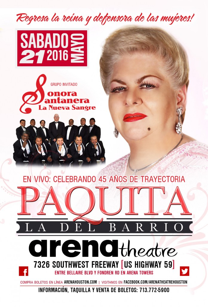 Paquita la del Barrio in concert with Sonora Santanera La Nueva Sangre on Saturday, May 21, 2016