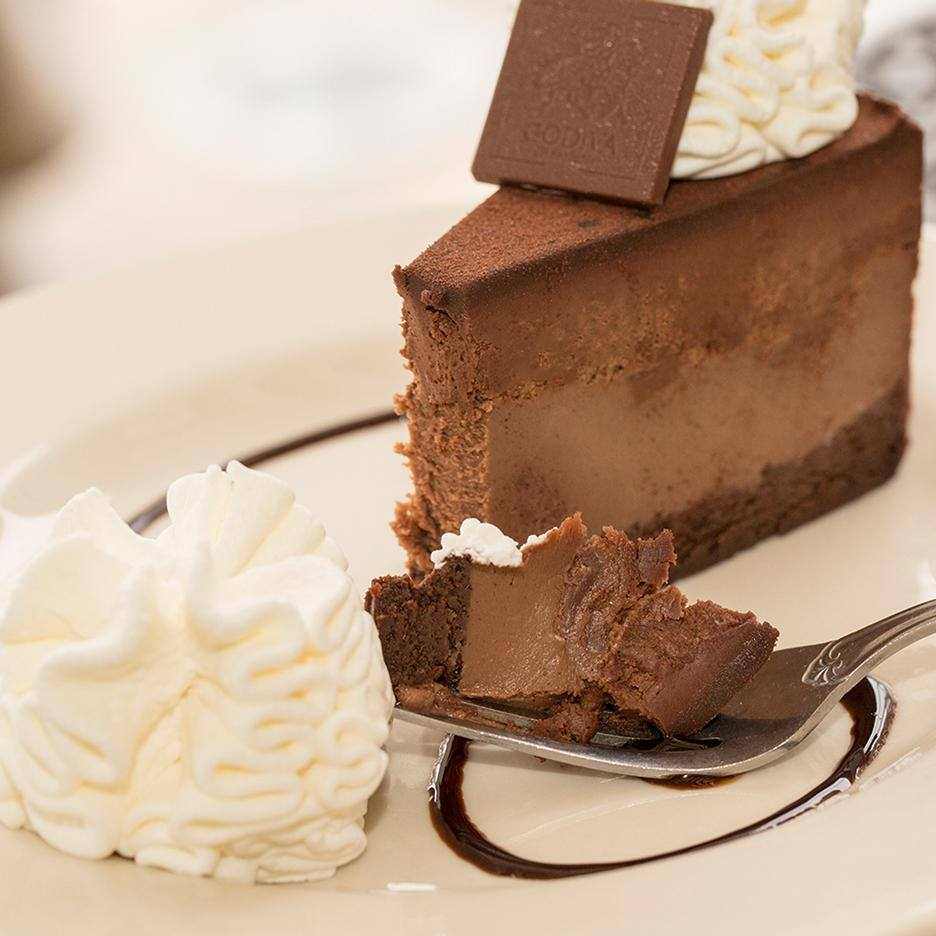 No chocolate list would be complete without mentioning the Godiva Chocolate Cheesecake from the Cheesecake Factory. Sumptuous and always a good choice.