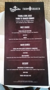 "Menu (from ""Don Julio Farm to Shaker Event,"" hispanichouston.com)"