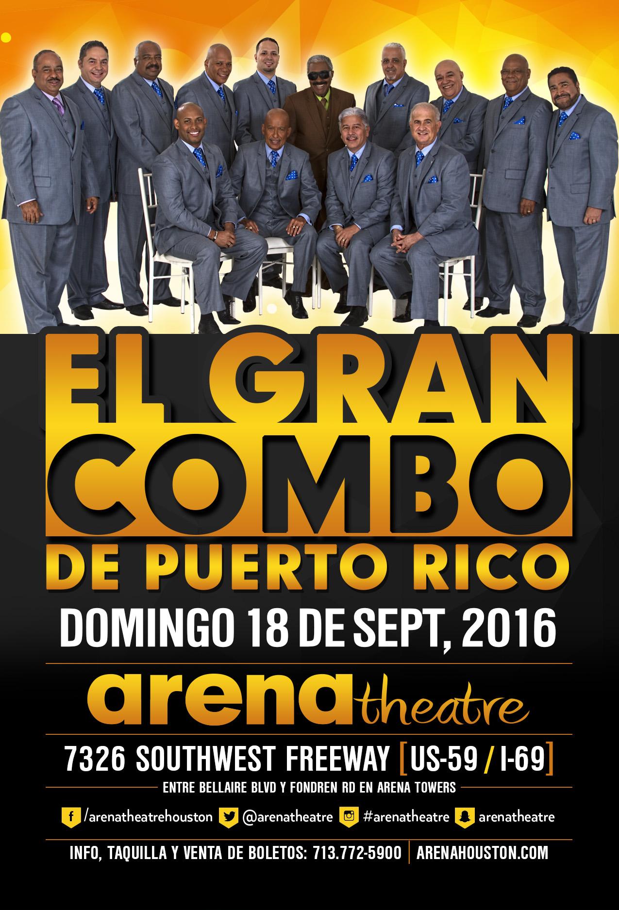 El Gran Combo de Puerto Rico on Sunday, September 18, 2016 (hispanichouston.com)