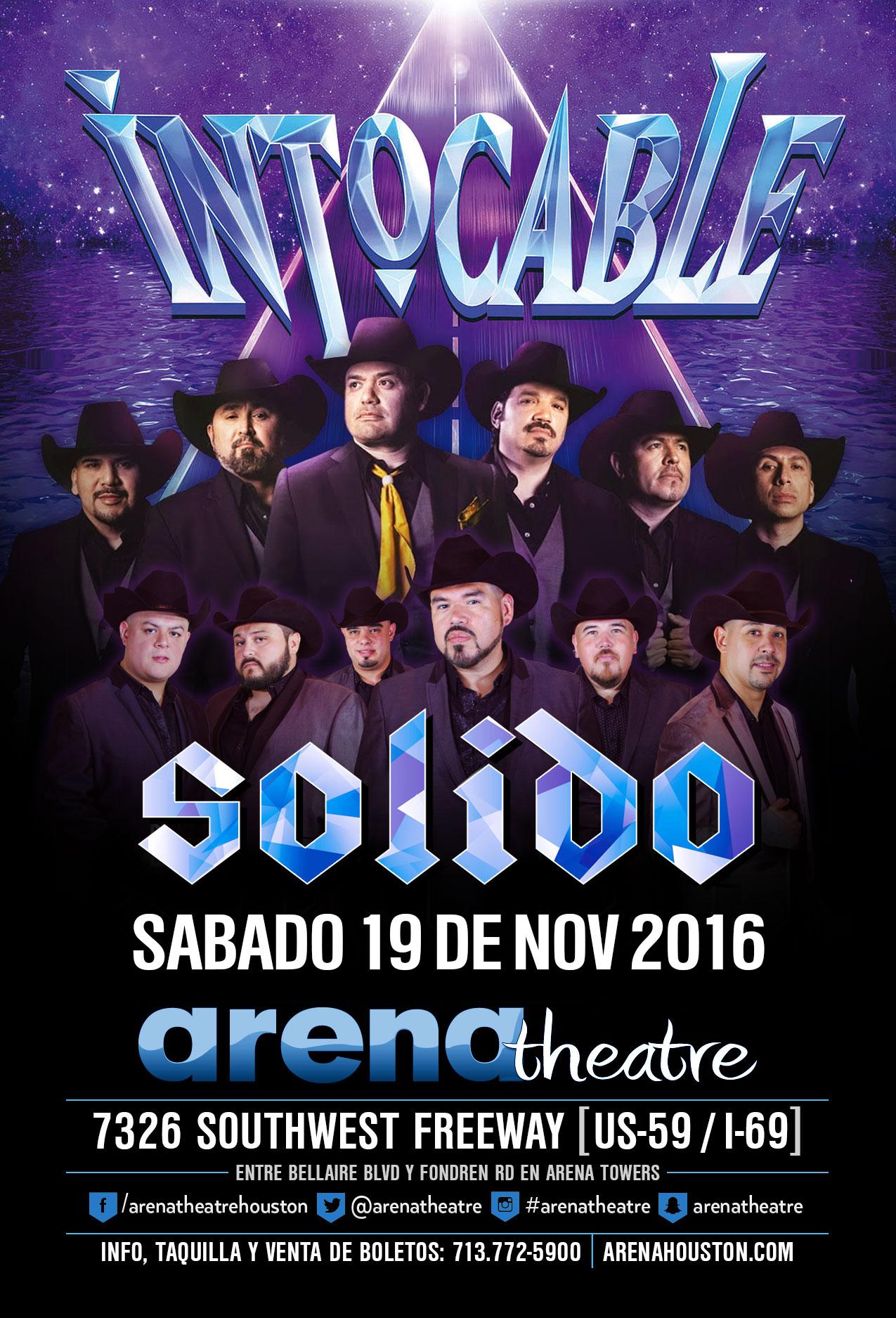 Intocable & Solido in concert on Saturday, November 19, 2016 (hispanichouston.com)
