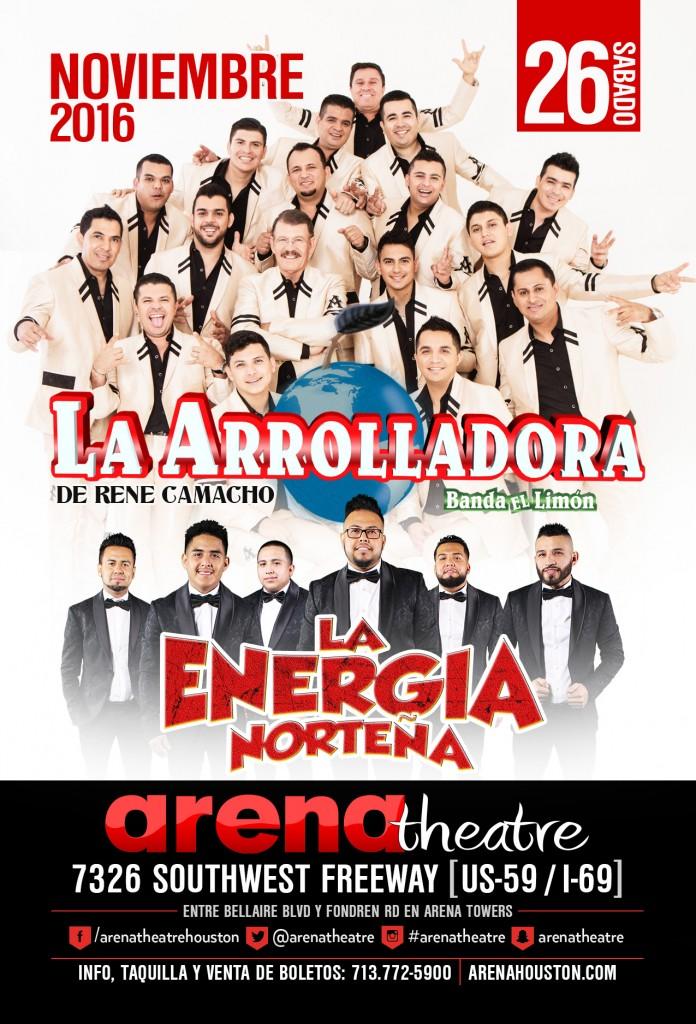 La Arrolladora Banda Limon y Energia Norteña on Saturday, November 26, 2016 (hispanichouston.com)