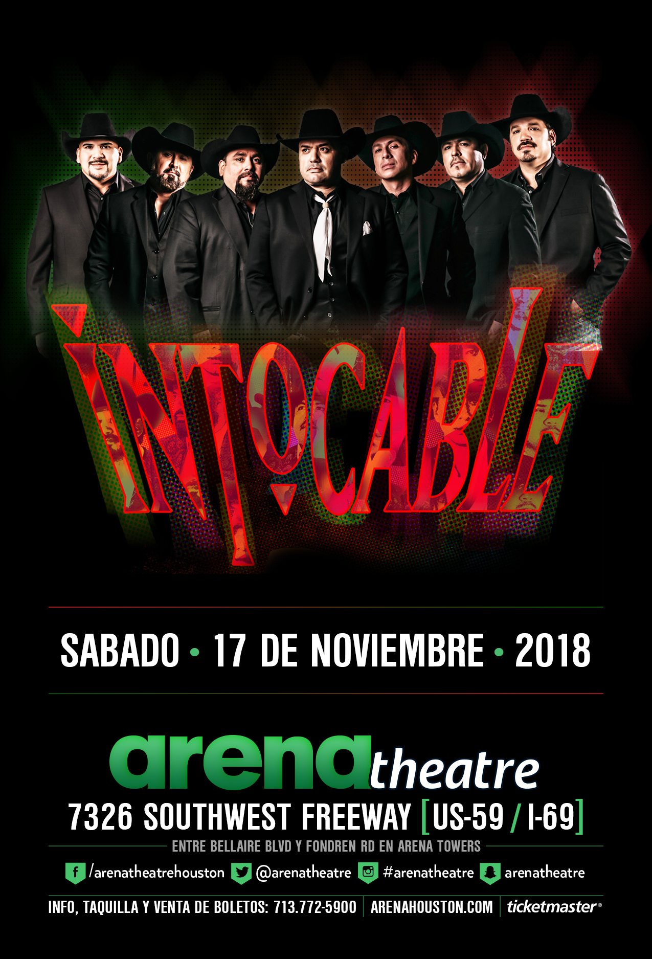 Intocable in concert on Saturday, November 17, 2018