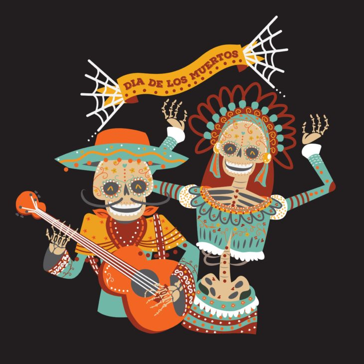 Day of the dead musician and dancer image